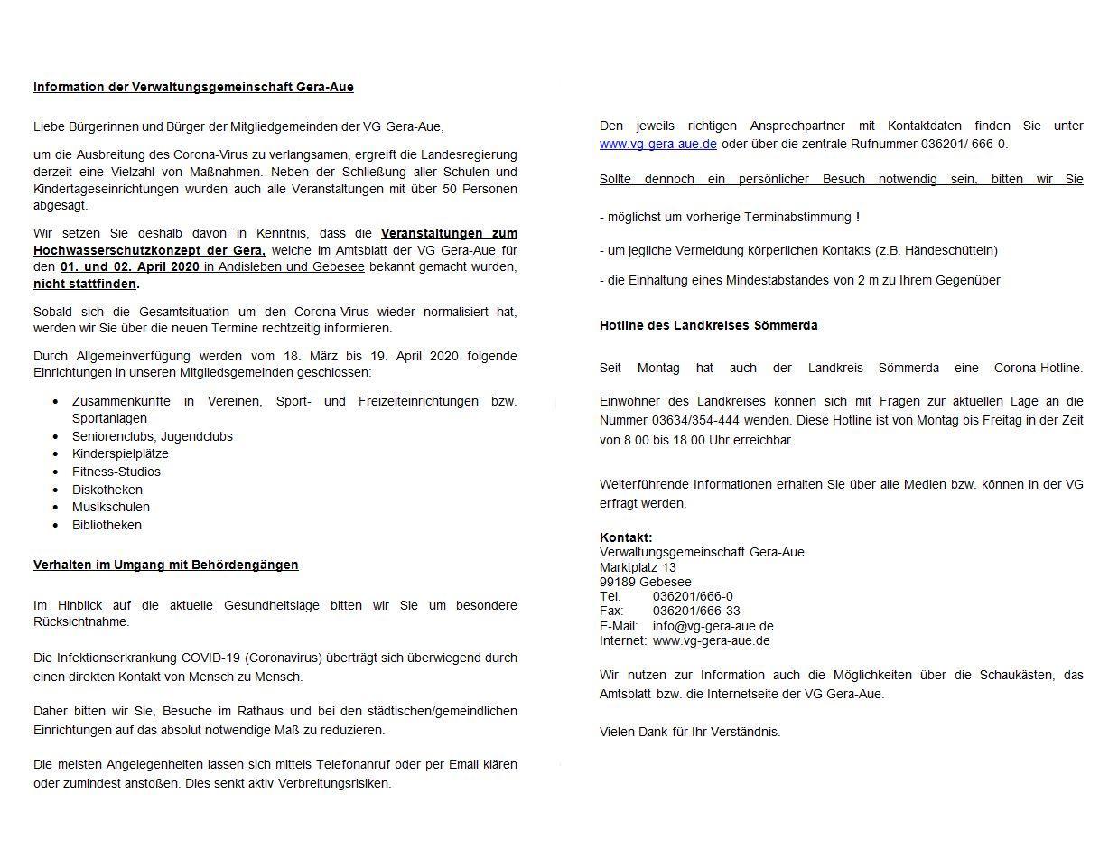 Wichtige Informationen der Verwaltungsgemeinschaft Gera-Aue