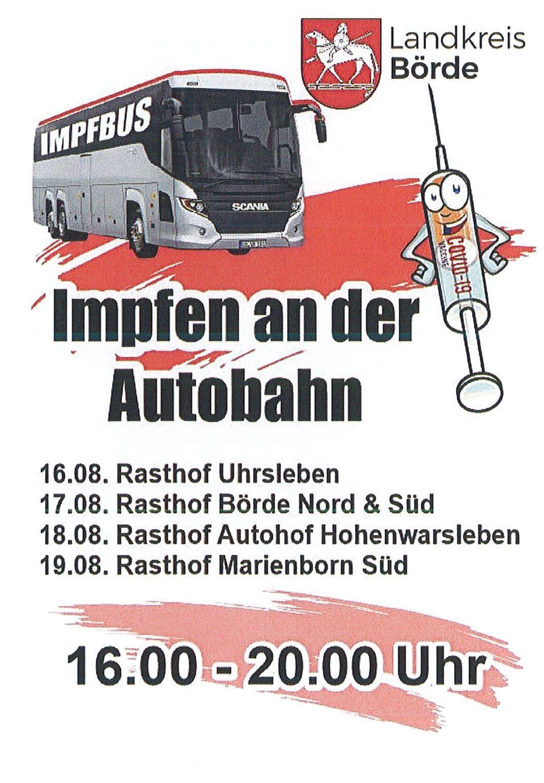 Impfbus - Standort an der Autobahn