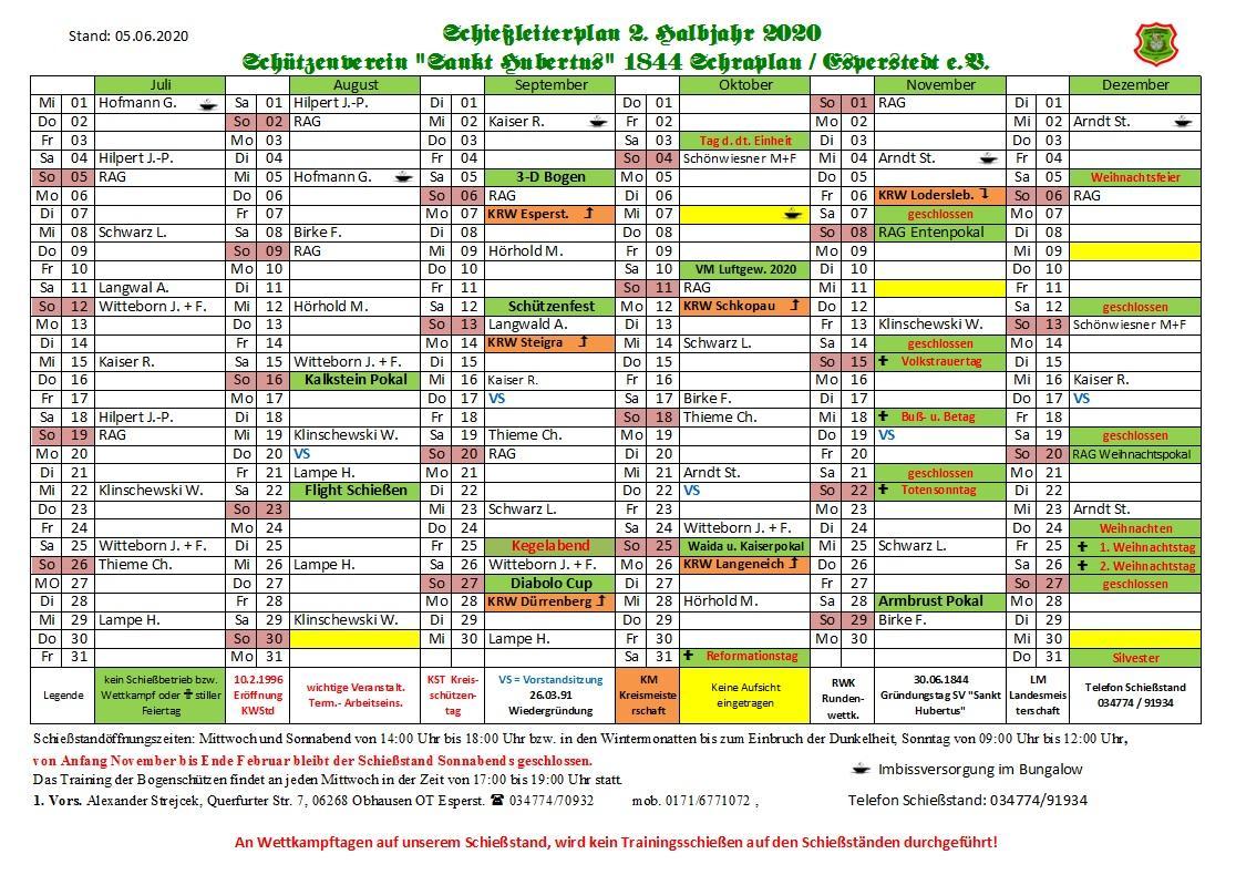 Schießleiterplan 2. Halbjahr 2020