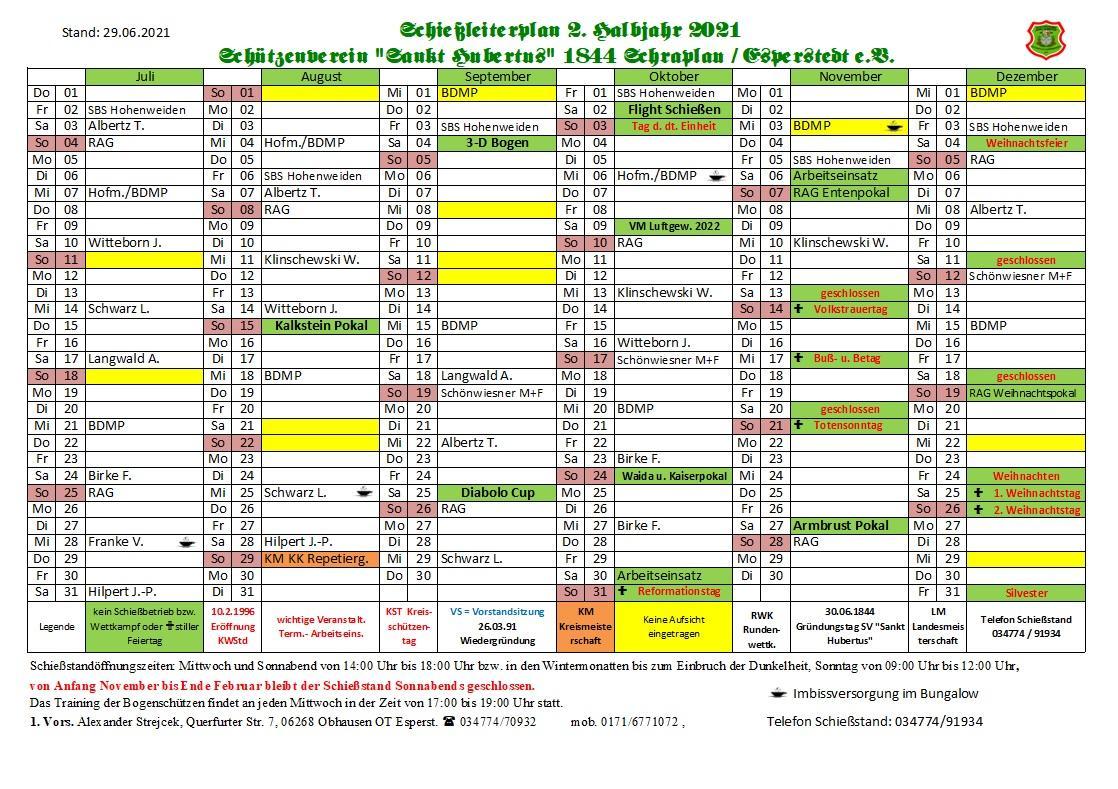 Schießleiterplan 2. Halbjahr 2021