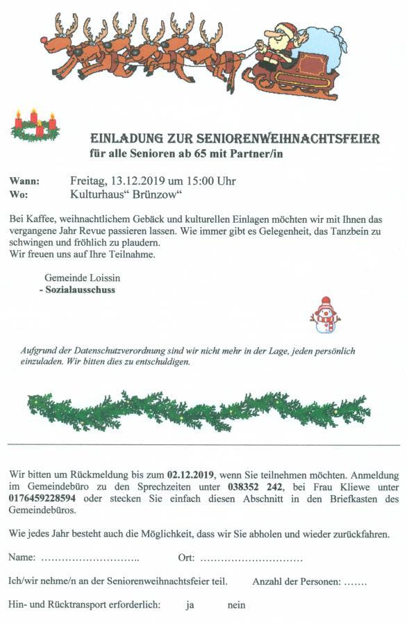 Senioren-Weihnachtsfeier 2019