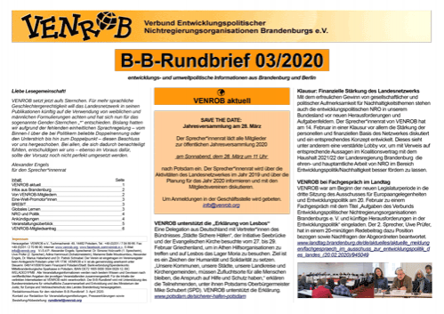 B-B-Rundbrief 3/2020 von VENROB e.V.