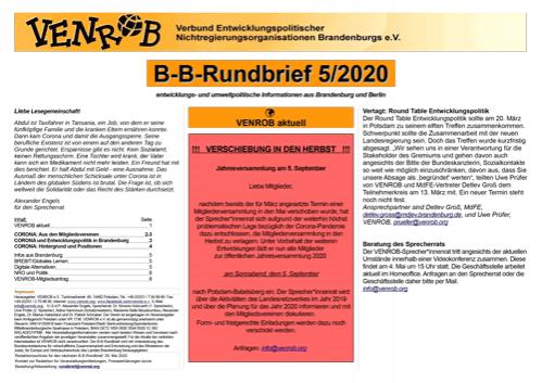 B-B-Rundbrief 5/2020 von Venrob e.V.