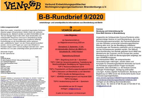 B-B-Rundbrief 9/2020 von VENROB e.V.