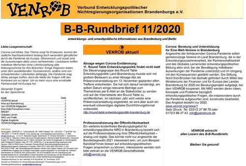 B-B-Rundbrief 11/2020 von VENROB e.V.