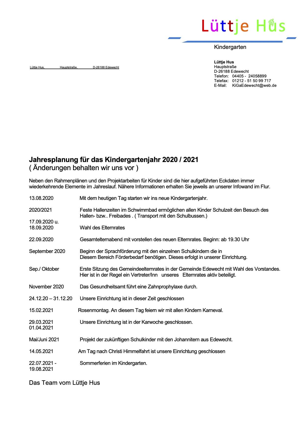 Jahresplaner Kindergartenjahr 2020/2021