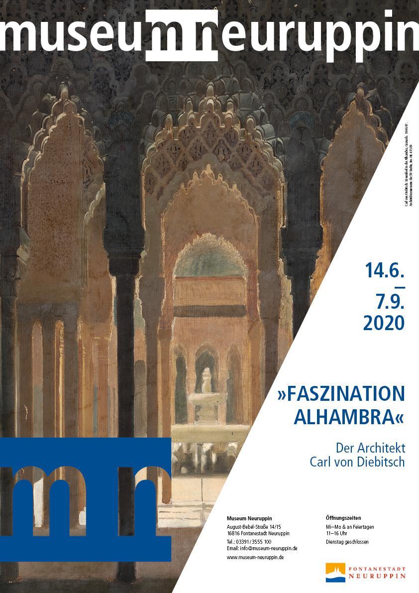 Ausstellungsplakat, Motiv: Carl von  Diebitsch: Löwenhof in der Alhambra,  Granada. 1846/47. Architekturmuseum  TU Berlin, Inv. Nr. 41509