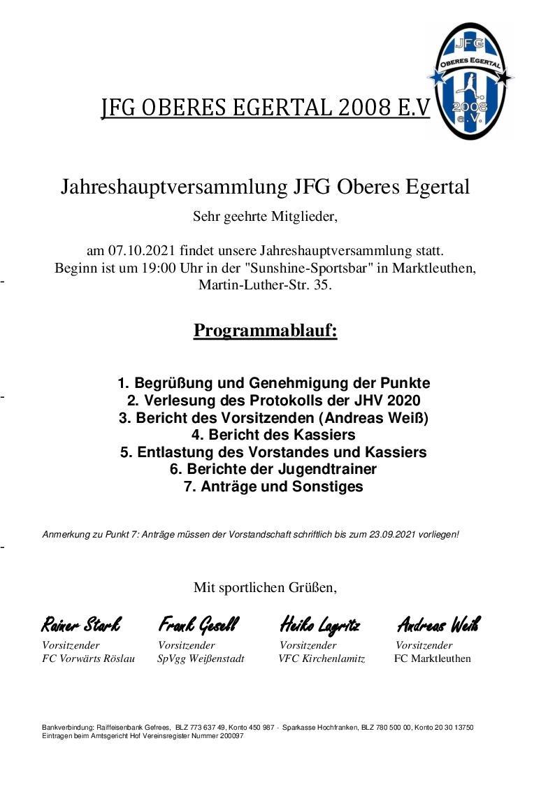Einladung JHV 2021