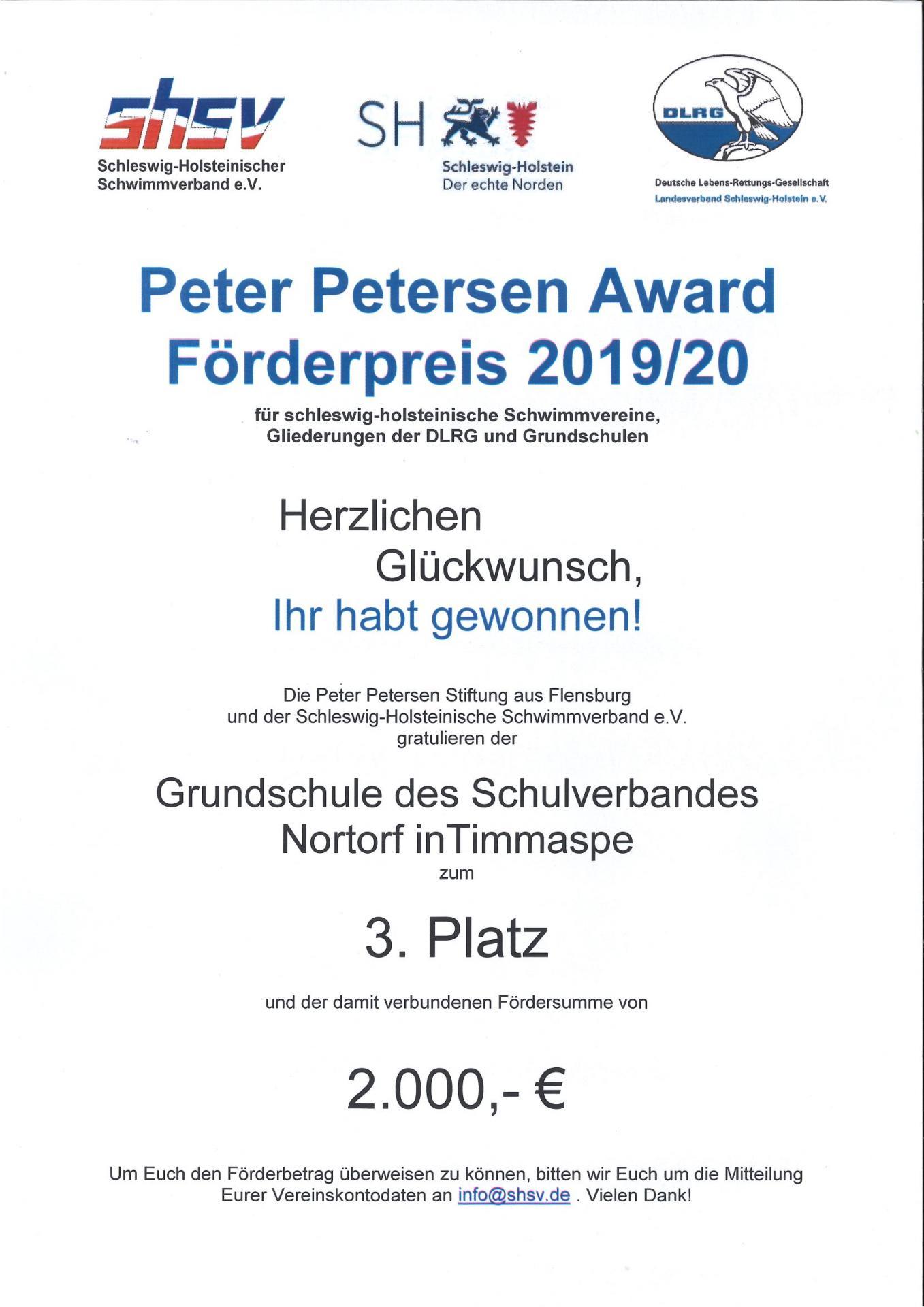 Urkunde Peter Petersen Award
