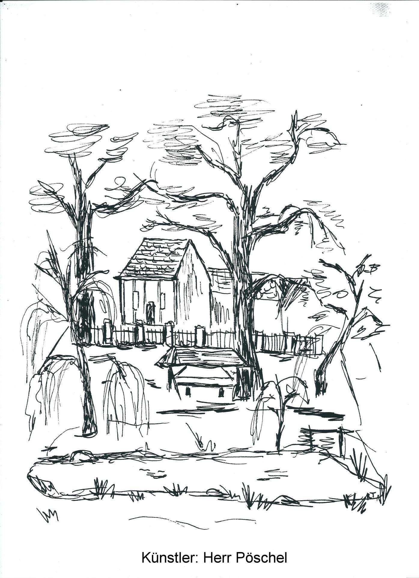 Kirche mit Dorfteich