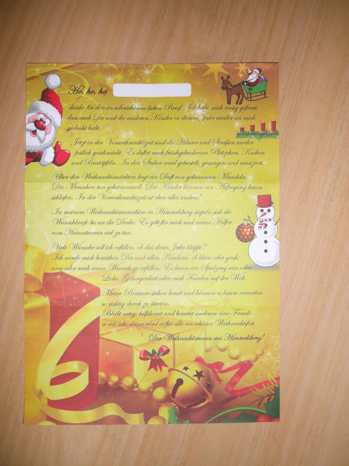 antwort weihnachtsmann
