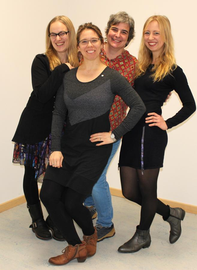 Die Fachschaft Kunst (2019) v.l.: Frau Berger-de Kleijn, Frau Olberding, Frau Behr-Dählmann, Frau Trauernicht (Vertretungslehrkraft)