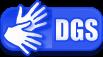 """Bild zeigt das Symbol für die Deutsche Gebärdensprache; Es zeigt zwei Hände und die Buchstagen """"DGS"""""""