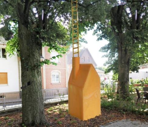 Zeigt den Entwurf mit einem Haus und einer Leiter in gelb.