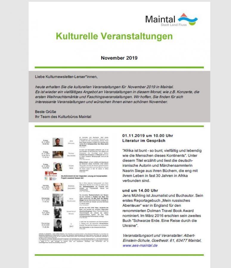 Kultur Newsletter November 2019