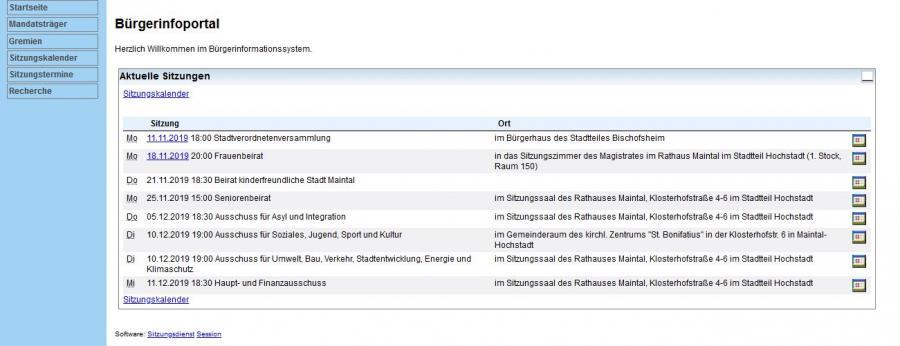 Vorschaubild: Bürgerinformationssytem der Stadt Maintal