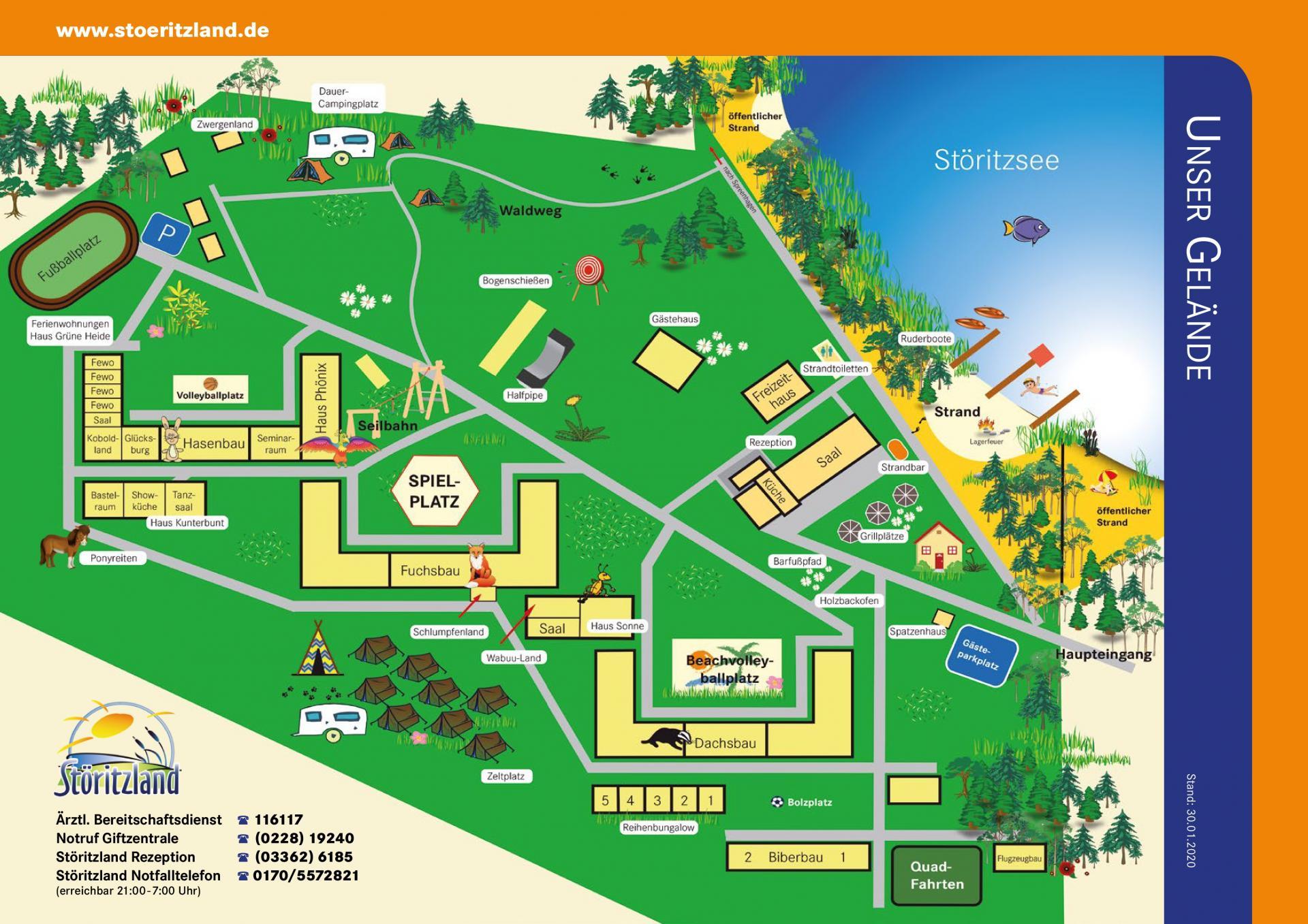 Geländeplan Störitzland - Kinder-, Jugend- und Familiencamp