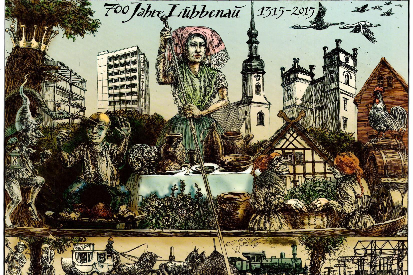 Aquatinta Radierung zu 700 Jahre Lübbenau/Spreewald, Künstler: Rainer Ehrt