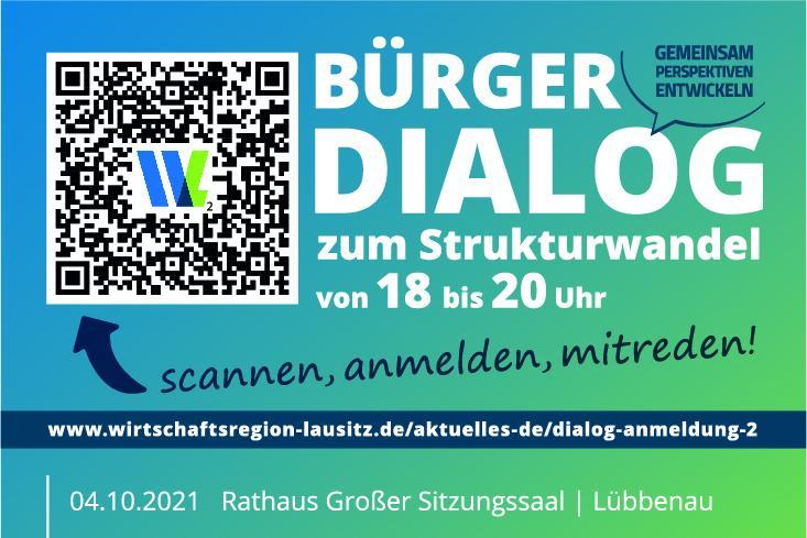 Ausschnitt Anzeige der Wirtschaftsregion Lausitz GmbH zum Bürgerdialogveranstaltung zum Strukturwandel