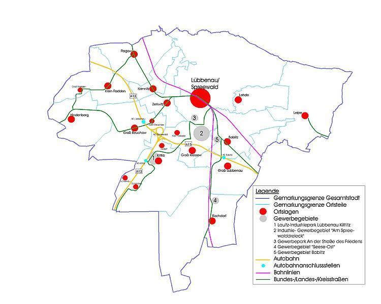 Übersicht der Gewerbegebiete in Lübbenau/Spreewald, Quelle: Stadt Lübbenau/Spreewald