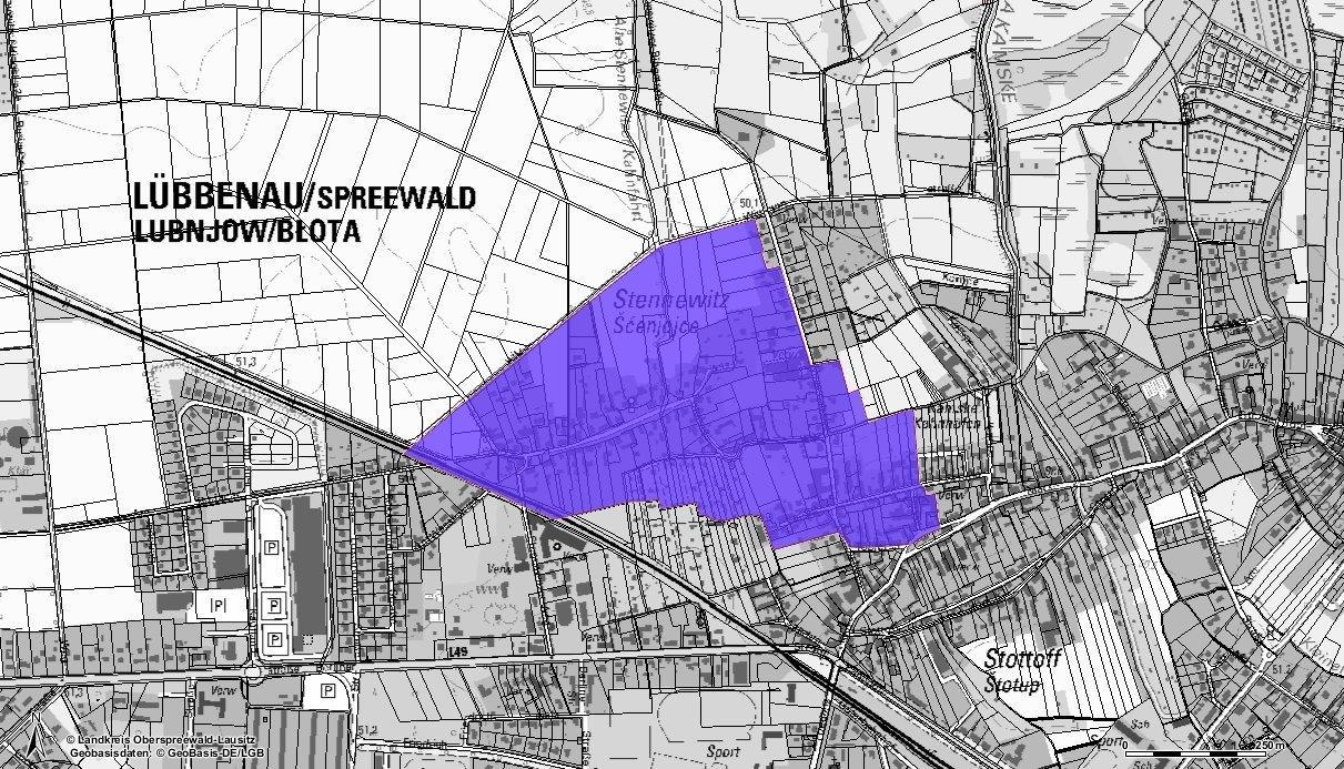 Karte zum Grundwasserschaden im Lübbenauer Stadtteil Stennewitz