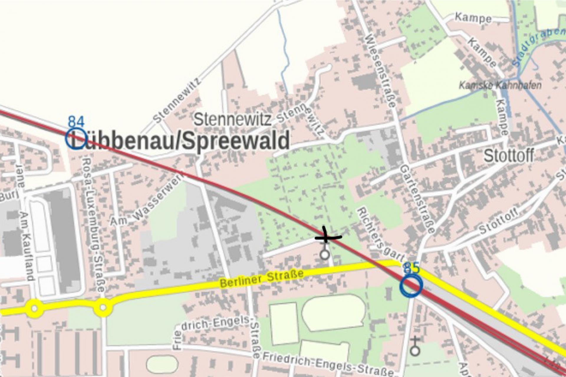 Grafik Lageplan mit Kennzeichnung des Bereichs der Gleisbauarbeiten