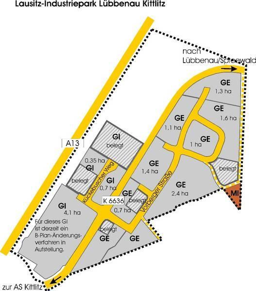 Übersicht Lausitz-Industriepark Lübbenau Kittlitz, Quelle: Stadt Lübbenau/Spreewald