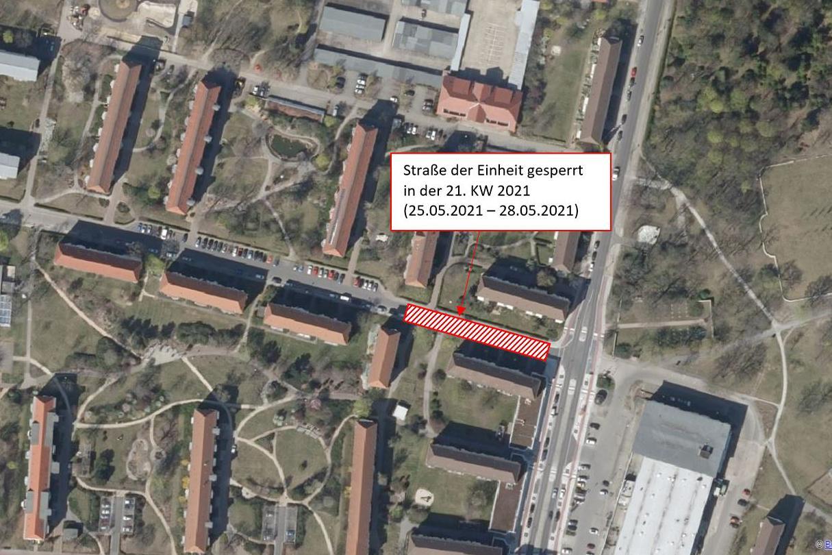 Luftbild auf die Straße der Einheit, Quelle: Bundesamt für Kartographie und Geodäsie 2021