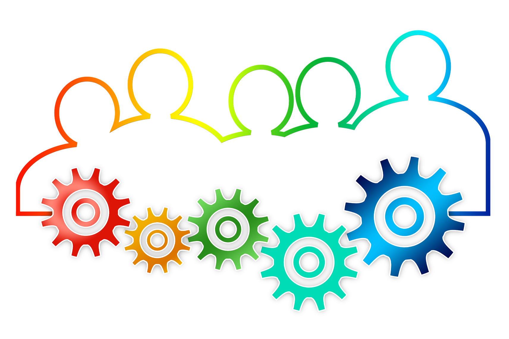Personenschemen mit Zahnrädern, Quelle: teamwork-Bild_von_Gerd_Altmann_ auf_Pixabay