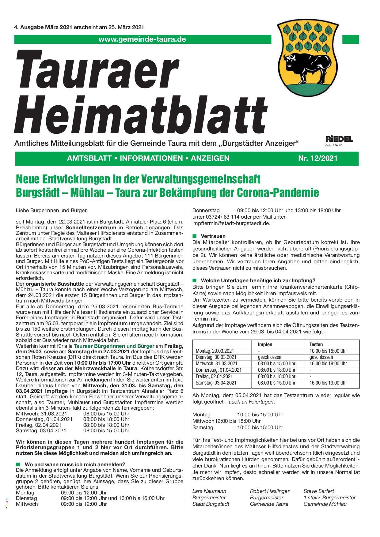 Tauraer Heimatblatt 12/2021