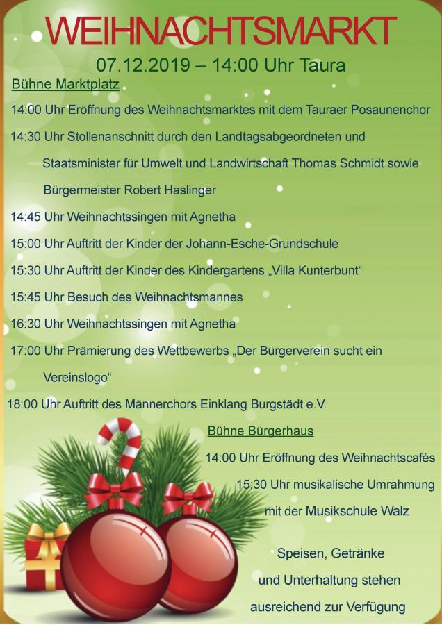 Programm Weihnachtmarkt 2019
