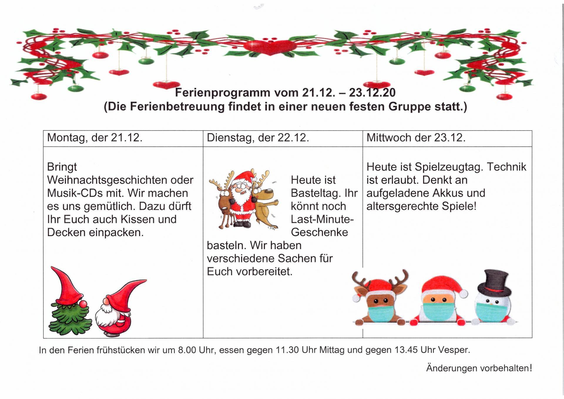 Ferienplan Weihnachten 2020