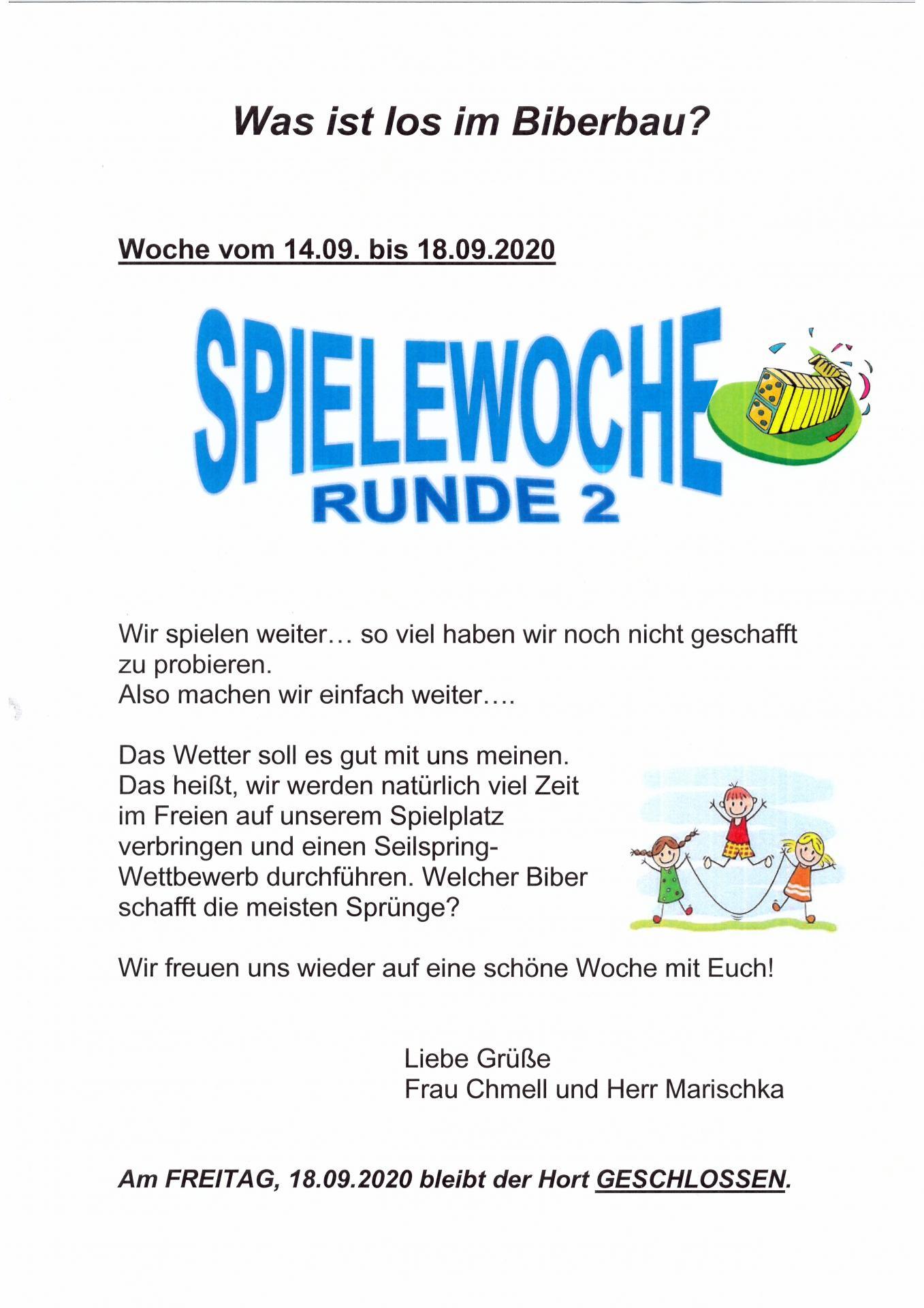 wocheplan Biber 14.09. - 18.09.