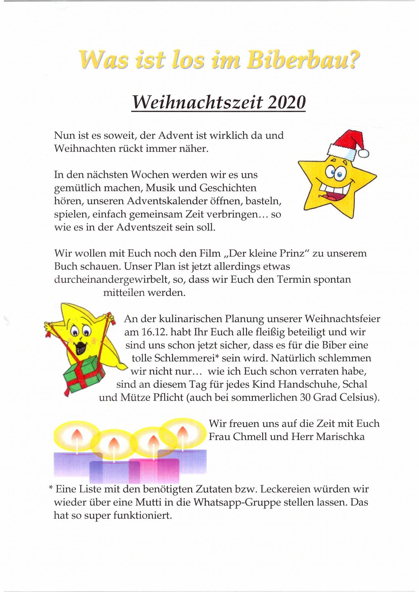 wochenplan Biber 14.12. - 18.12.