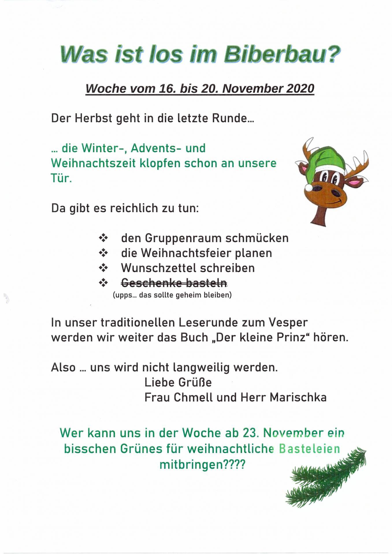 wochenplan Biber 16.11. - 20.11.
