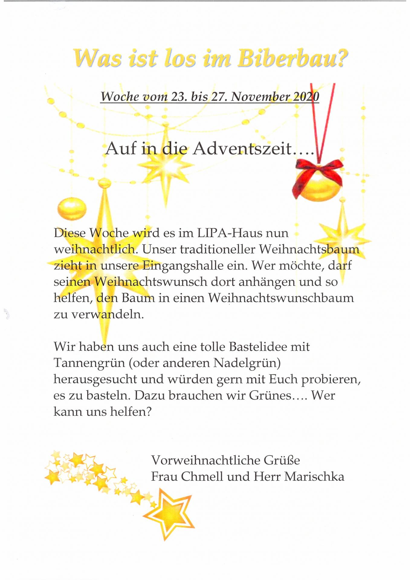 wochenplan Biber 23.11. - 27.11.2020