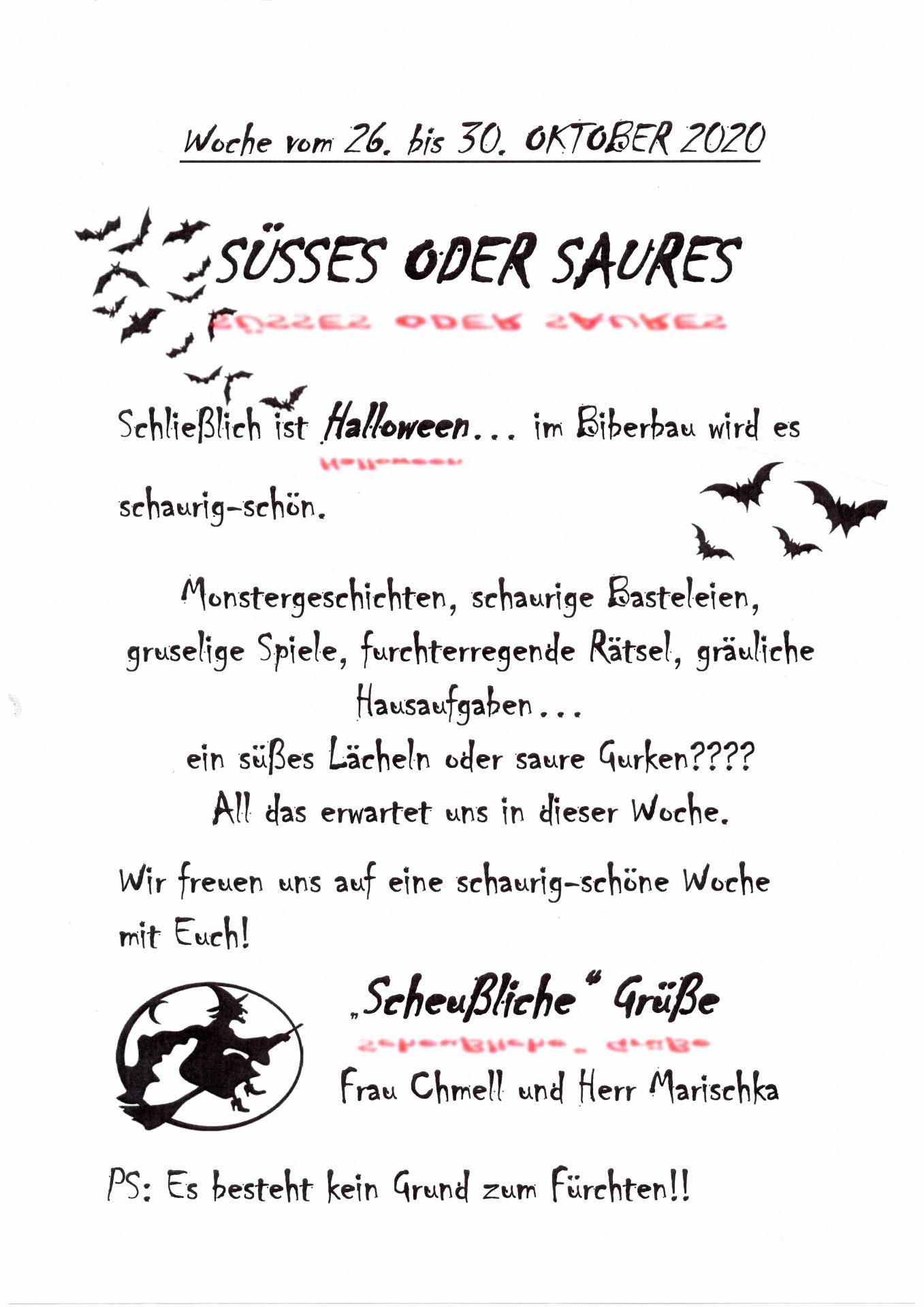 wocheplan Biber 26.10. - 30.10.