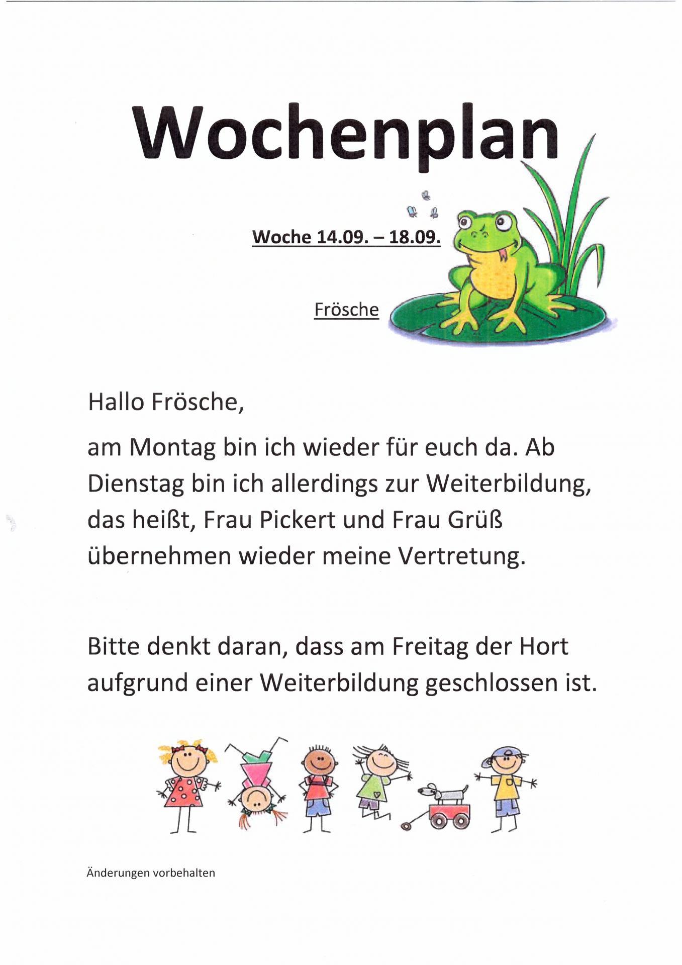 wocheplan Frösche 14.09. - 18.09.
