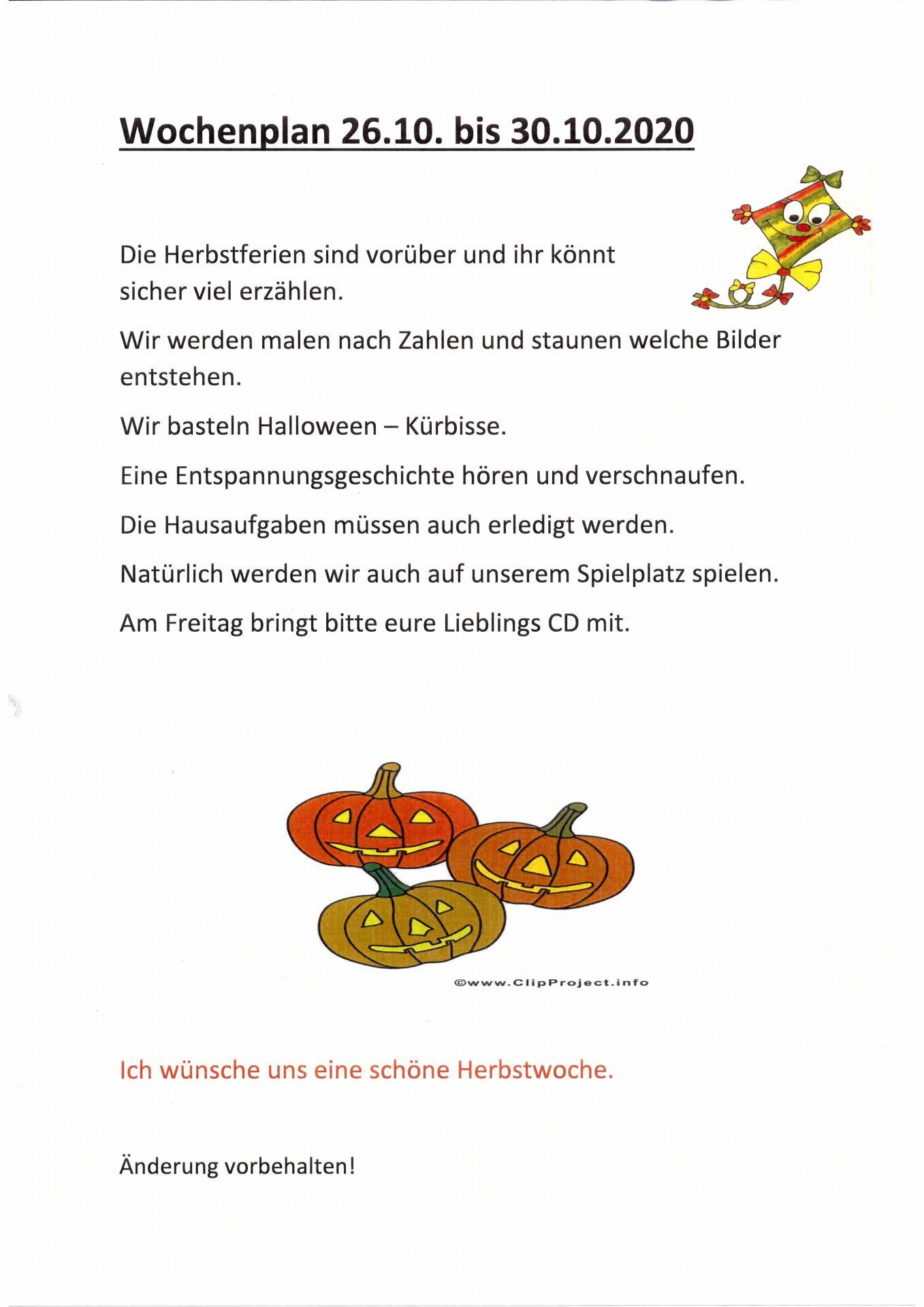 wocheplan Frösche 26.10. - 30.10.
