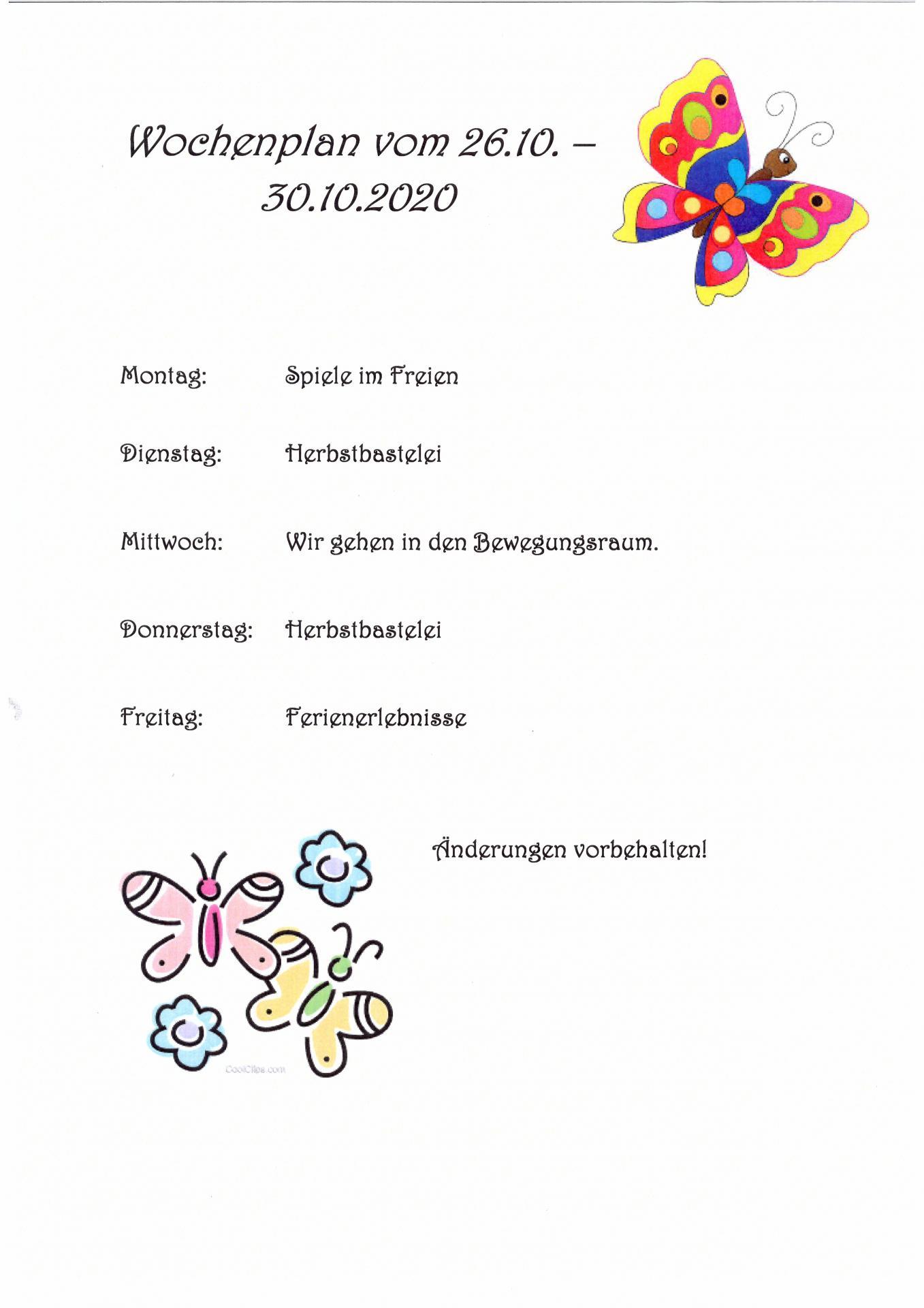 wocheplan Schmetterlinge 26.10. - 30.10.