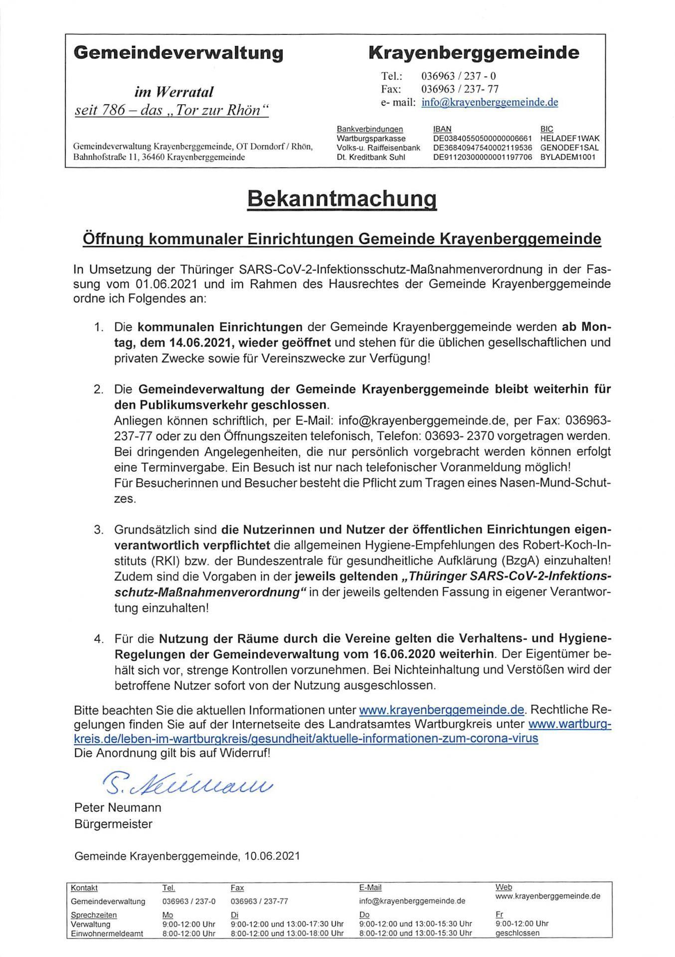 Öffnung kommunale Einrichtungen ab 14.06.2021