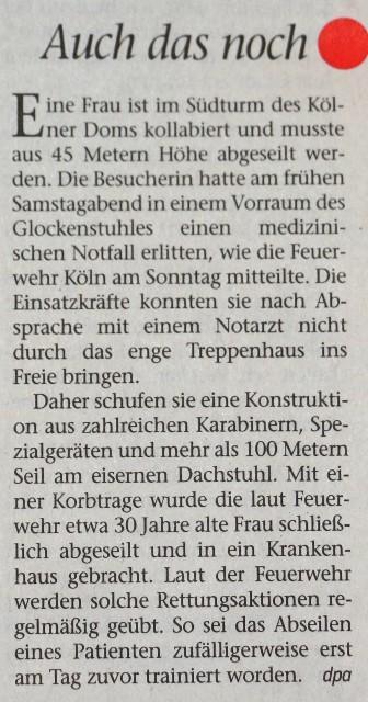 FW 2020.09.07 Frau aus Kölner Dom abgeseilt