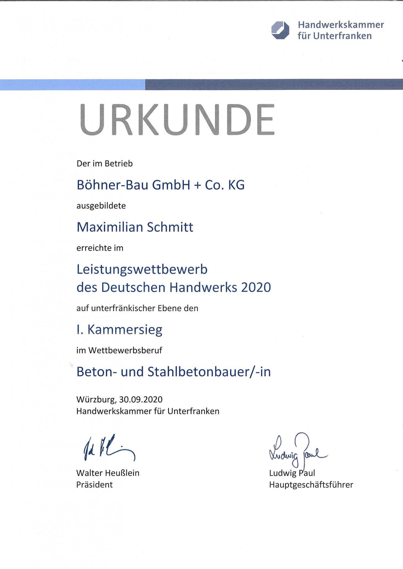 Urkunde Kammersieg Maximilien Schmitt