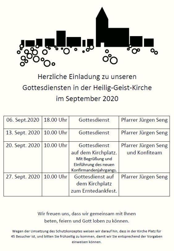 Gottesdienste September 2020