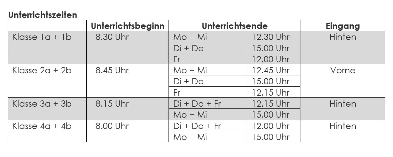 Unterrichtszeiten