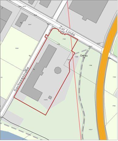 """Geltungsbereich Bebauungsplan """"Mischgebiet Sachsenstraße, südlicher Bereich"""""""
