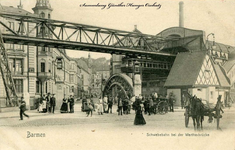 Barmen Schwebebahn bei der Wertherbrücke
