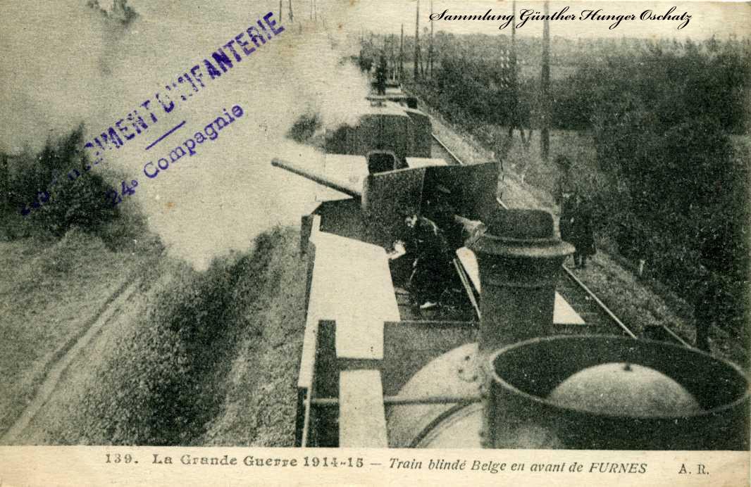 La Grande Guerre 1914-15 Train blinde`Belge en avant de Furnes