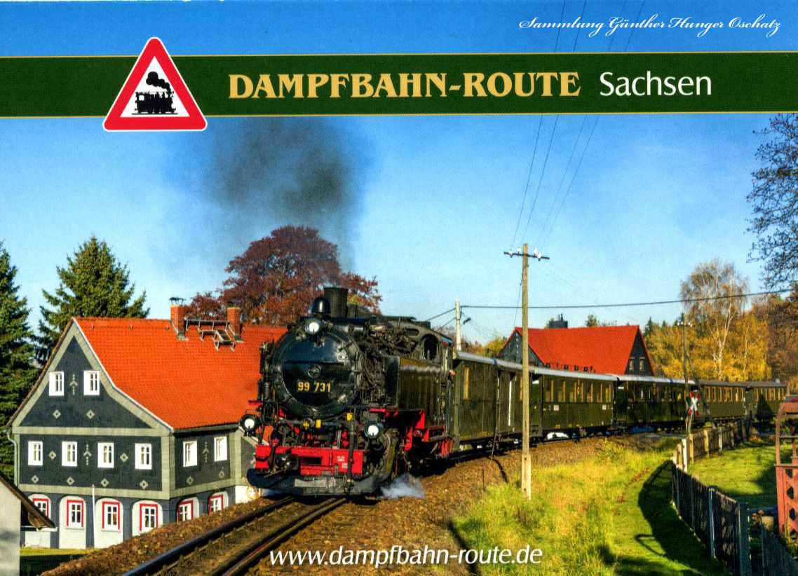 Dampfbahn-Route Sachsen Reichsbahnzug der Zittauer Schmalspurbahn in Kurort Johnsdorf