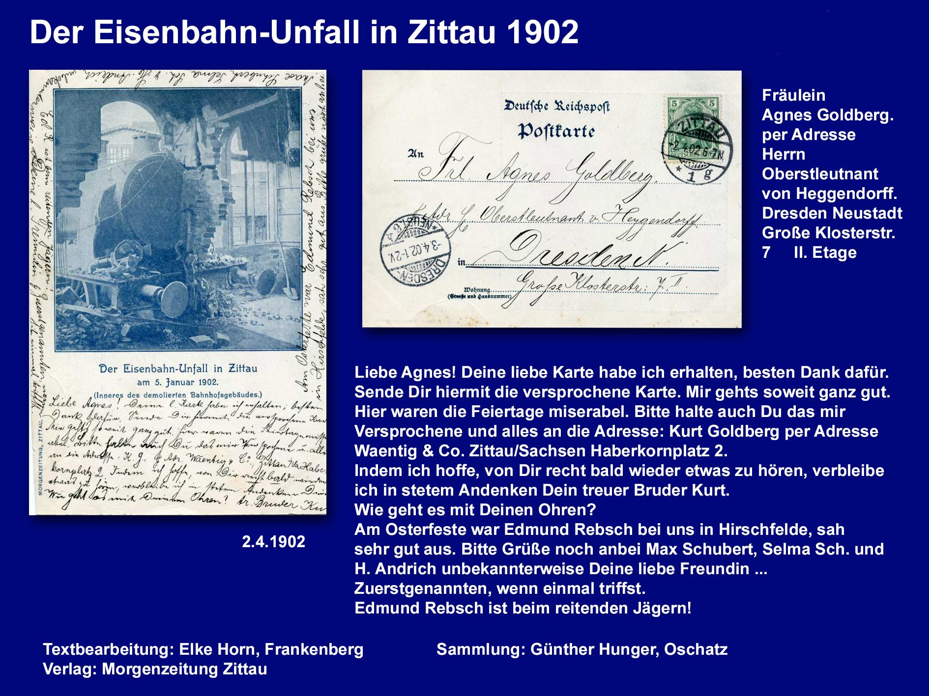 Der Eisenbahn-Unfall Zittau 19021